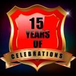 15 Years anniversary golden celebration label badge - vector eps10 — Stock Vector #52945937