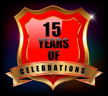 15 Years anniversary golden celebration label badge - vector eps10