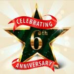 6 Year anniversary celebration golden star ribbon, celebrating 6th anniversary decorative golden invitation card - vector eps10 — Stock Vector #53014525
