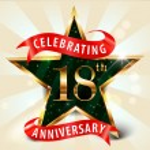 18 Year anniversary celebration golden star ribbon, celebrating 18th anniversary decorative golden invitation card - vector eps10 — Stock Vector