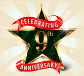 9 Year anniversary celebration golden star ribbon, celebrating 9th anniversary decorative golden invitation card - vector eps10 — Stock Vector