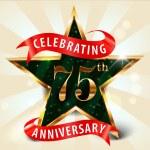 75 Year anniversary celebration golden star ribbon, celebrating 75th anniversary — Stock Vector #53084375