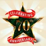 70 Year anniversary celebration golden star ribbon, celebrating 70th anniversary — Stock Vector #53084379