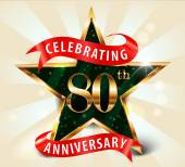 80 Year anniversary celebration golden star ribbon, celebrating 80th anniversary — ストックベクタ