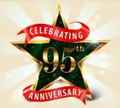 Année 95 anniversaire célébration golden star ruban, célébrer le 95e anniversaire — Vecteur