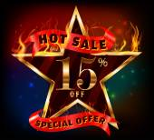15 off, 15 sale discount hot sale with special offer and fire effect — Stock Vector