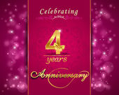 4 year anniversary celebration sparkling card, 4th anniversary vibrant background - vector eps10 — Stock Vector