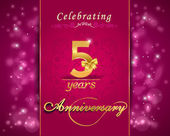 5 year anniversary celebration sparkling card, 5th anniversary vibrant background - vector eps10 — Stockvektor