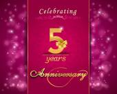 5 year anniversary celebration sparkling card, 5th anniversary vibrant background - vector eps10 — Stockvector