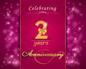 2 year anniversary celebration sparkling card, 2nd anniversary vibrant background - vector eps10 — Stock Vector