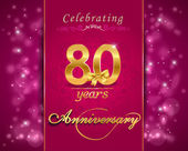 80 year anniversary celebration sparkling card, 80th anniversary vibrant background - vector eps1 — Stock vektor