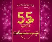 55 år årsjubileum firande mousserande kort, 55: e årsdagen levande bakgrund - vector eps1 — Stockvektor