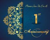 1 year anniversary celebration pattern design, 1st anniversary decorative Floral elements, ornate background, invitation card - vector eps10 — Vector de stock