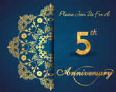 5 year anniversary celebration pattern design, 5th anniversary decorative Floral elements, ornate background, invitation card - vector eps10 — Vettoriale Stock