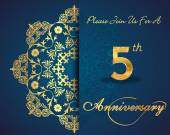 5 year anniversary celebration pattern design, 5th anniversary decorative Floral elements, ornate background, invitation card - vector eps10 — Stockvector