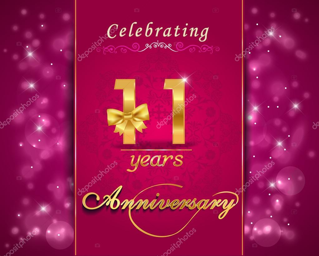 11 year anniversary celebration sparkling card, 11th ...