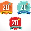 20th anniversary decorative emblem — Vector de stock  #58258395