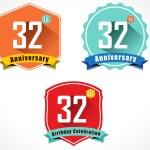 32nd anniversary decorative emblem — Stock Vector #58258469