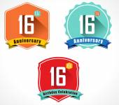 16th anniversary decorative emblem — Stockvektor
