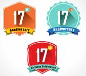 17th anniversary decorative emblem — Stockvektor
