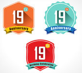 19th anniversary decorative emblem — Stockvektor