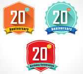 20th anniversary decorative emblem — Stock Vector