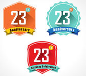 23rd anniversary decorative emblem — Stockvektor