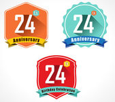 24th anniversary decorative emblem — Stockvektor