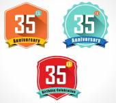 35th anniversary decorative emblem — Stock Vector