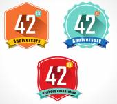 42nd anniversary decorative emblem — Stockvektor
