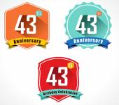 43rd anniversary decorative emblem — Stockvektor
