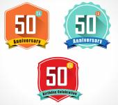 50th anniversary decorative emblem — Stock Vector