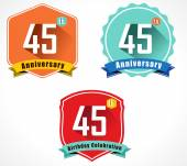 45th anniversary decorative emblem — Stock Vector