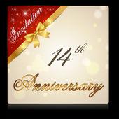 14 year anniversary celebration — Stock Vector