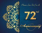 72 year anniversary — Stock Vector