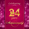 24 year anniversary celebration sparkling card — Stock Vector #60450491