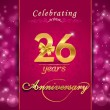 26 year anniversary celebration sparkling card — Stock Vector #60450787