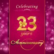 23 year anniversary celebration sparkling card — Stock Vector #60450853