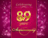 89 year anniversary celebration sparkling card — Stock Vector