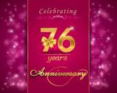 76 year anniversary celebration sparkling card — Vector de stock