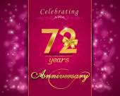 72 year anniversary celebration sparkling card — Vector de stock