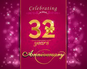 32 year anniversary celebration sparkling card — Stock Vector