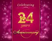 24 year anniversary celebration sparkling card — Stock Vector