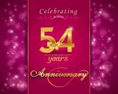 54 year anniversary celebration sparkling card — Vector de stock