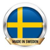 Hergestellt in Schweden Silber-Abzeichen — Stockvektor