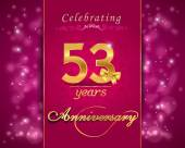 53 year anniversary celebration sparkling card — Vector de stock