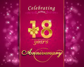 18 year anniversary celebration sparkling card — Stock Vector