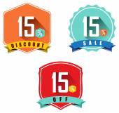 Set of 15 sale and discount — Stock Vector
