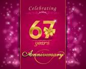 67 year anniversary celebration sparkling card — Vector de stock