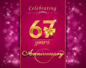 67 year anniversary celebration sparkling card — Stockvector